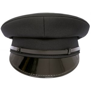 Security Flat Peaked Black Cap