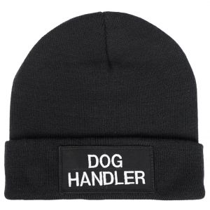 Dog Handler Watch Cap, dog handler hat with silver text