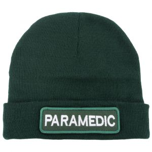 Green Watch Cap With Removable Paramedic Hook & Loop Logo