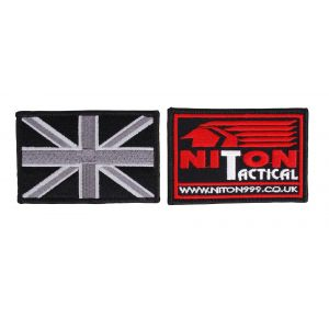 Embroidered Union Flag Hook & Loop Black Badges - 2 Pack - Sand