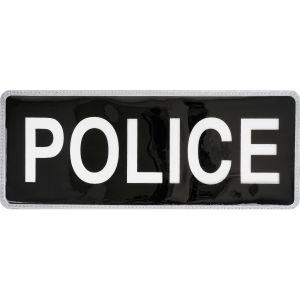 Police Hook & Loop Reflective Black Badge - Large - Small