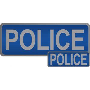 Police Hook & Loop Reflective Blue Badges - 2 Pack