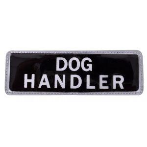 Dog Handler Hook & Loop Reflective Black Badge - Small - Small