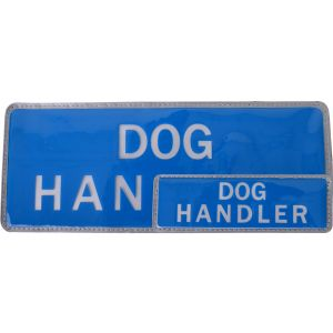 Dog Handler Hook & Loop Reflective Blue Badges - 2 Pack