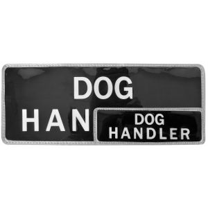 Dog Handler Hook & Loop Reflective Black Badges - 2 Pack