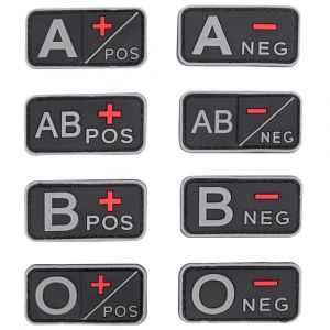 Rubberised Blood Group Patches, hook and loop blood group patches