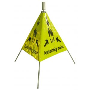 Pyramid Fluorescent Reflective Safety Sign