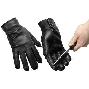 slash resistant patrol gloves, black leather slash resistant gloves