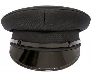 Security Flat Peaked Black Cap